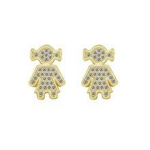 Фотография GORGEOUS TALE Fashion CZ Child Girl Earring For Women Jewelry Punk Figure Stud Earrings friend Birthday Gift 2017 Gold Brincos