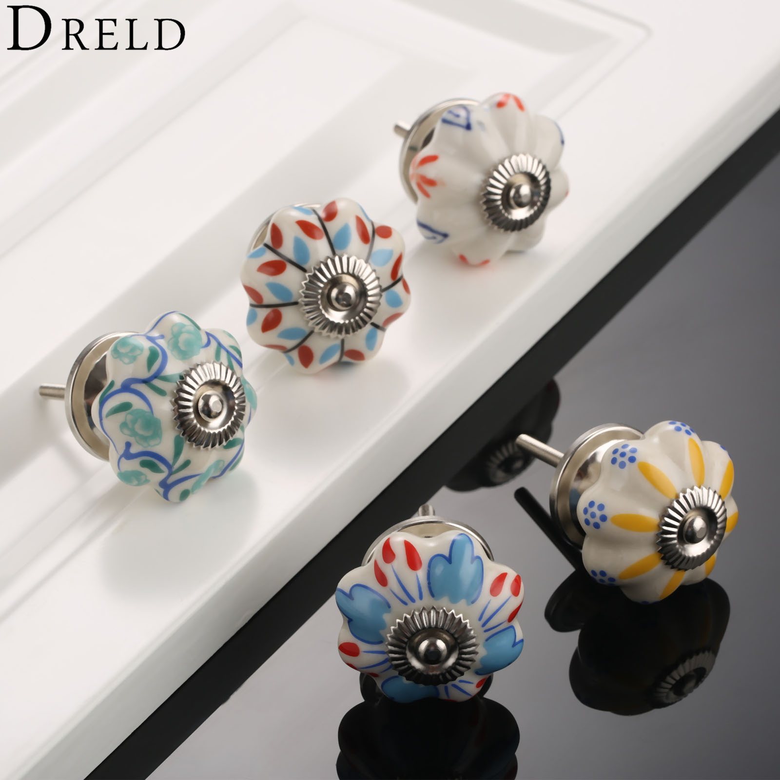 DRELD Flower Furniture Handle Ceramic Cupboard Drawer Knobs and Handles Knobs Handle Kitchen Door Pull Handle Furniture Hardware