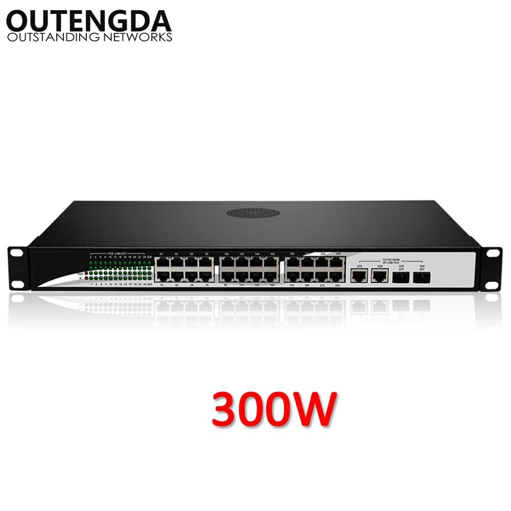 24 10/100Mbps POE Switch Standard 802.3af/at Switch with 2* 1000Mbps UPlink and 2 Gigabit SFP for IP Camera, Wireless AP 24 port 10 100 1000mbps standard poe injector pse poe 802 3af at standard pin1 2 3 6 middle span