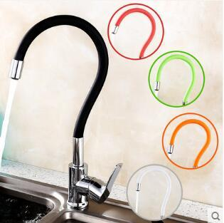 New Arrivals 360 Swivel Brass Single Handle Mixer Sink Tap Down Kitchen Faucet polished black and color tubes kitchen mixer tap