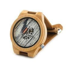 БОБО ПТИЦА H16 Мужские Часы Япония Движение Видимый Кварцевые Часы каракули Печати Светящийся Циферблат Кожаный Ремешок Часы Лучший Подарок для мужчины