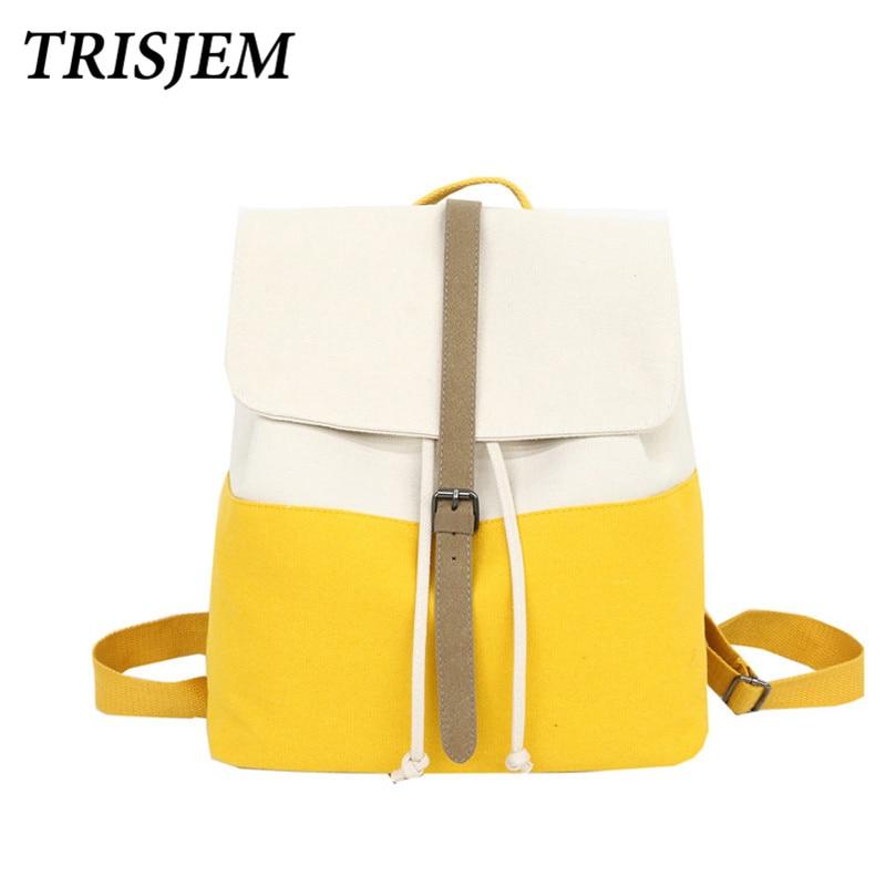 Backpack Teenage Girls Leisure Bag Vintage Stylish School Bag Canvas Backpack Female Bookbag Mochila Yellow
