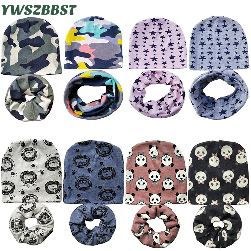 Wholesale 10sets/lot Baby Hat Nice Camo Cotton Children Hat Scarf Collar Baby Cap Kids Boys Girls Beanies Infant Hats Set