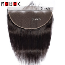Mobok Hair Ear to Ear Lace Frontal Closure 13*6 Free Part With Baby Hair Brazilian Straight Human Hair Remy Hair(China)