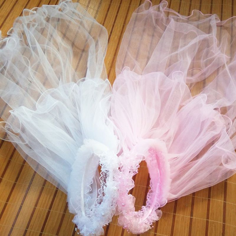 Girls Little Princess Hairband Double Layers Tulle Bridal Veils Garland Ruffles Floral Lace Wedding Party Wreath Headband