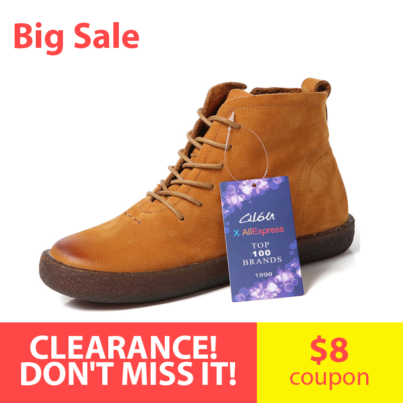 O16U Big Sale Ankle boots Shoes Women Genuine Leather Lace up Ladies boots Retro Low Heel
