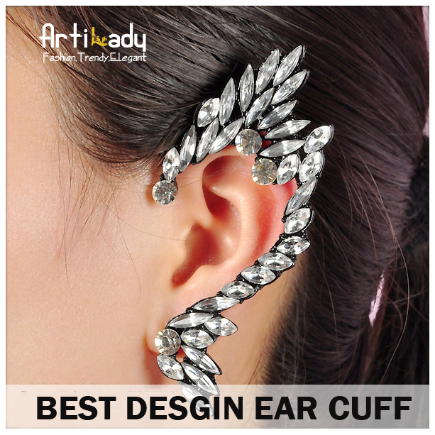 Artilady best desgin Clip Earrings fashion crystal ear cuff earrings for women jewelry left ear party gift