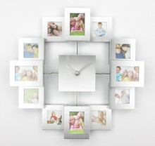 Modern Design Photo Frame font b Clock b font with 12 Pictures Large Decorative Metal font