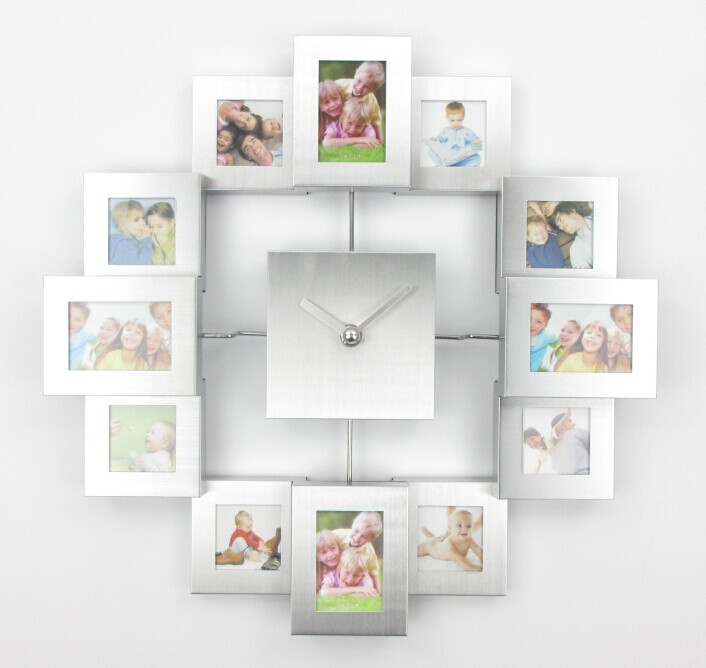 modern design photo frame clock with 12 pictures large decorative metal wall clock living room art