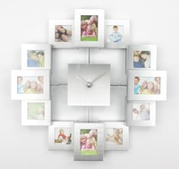 Free Shipping Photo Frame Clock With 12 Pictures Modern Fashion Design Metal Wall Clock For Home