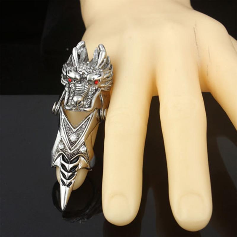 Fashion Men Stainless Steel Silver Red Eye dragon Biker Finger Rings Jewelry