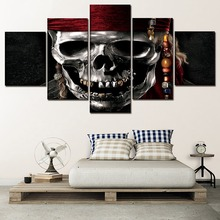 One Set Framework Or Unframed Movie Poster 5 Panel Pirates Of The Caribbean Skull Picture Wall Art Home Decorative Bedroom