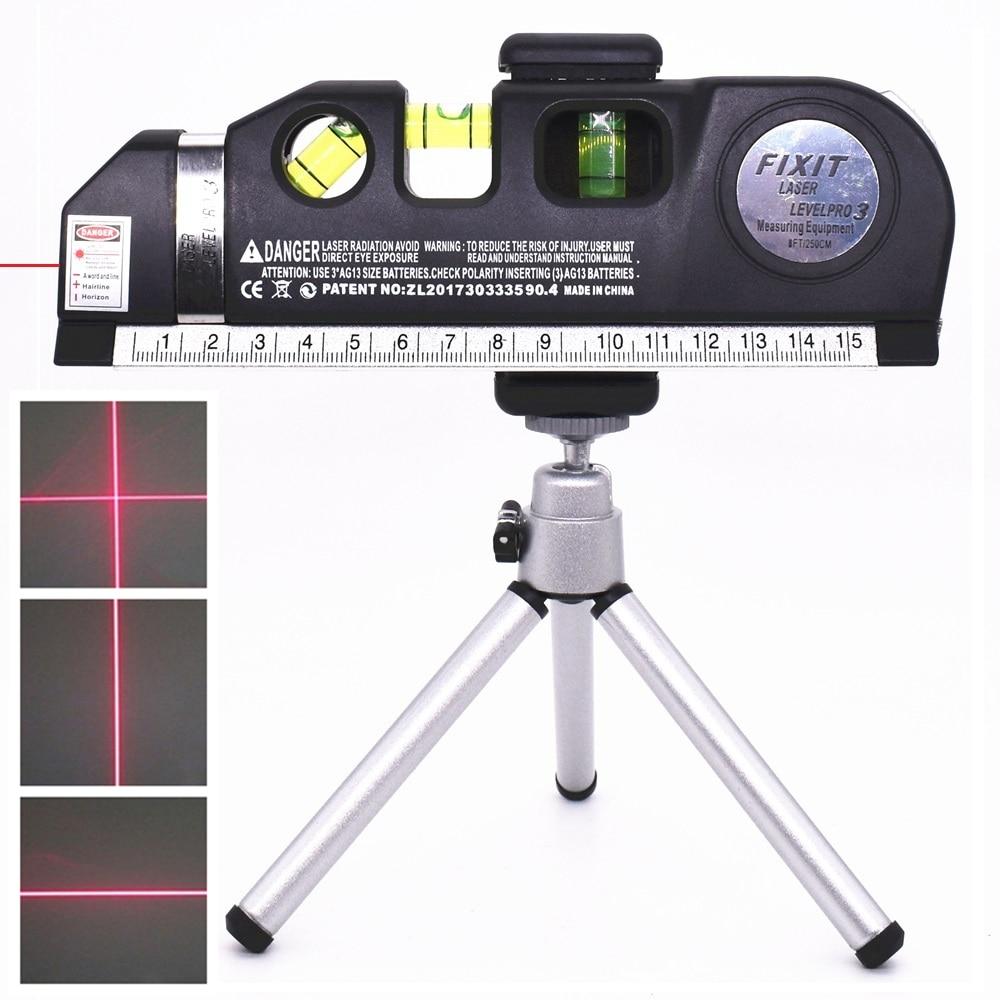 Лазерные нивелиры 4 в 1 поперечные проекты Вертикальные Горизонтальные лазеры линейка Отрегулированная Точная 2 линии с штатив оптические инструменты