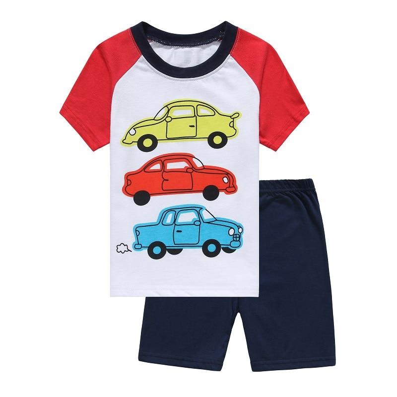 cars print baby pajamas clothes suit summer boys t shirts shorts pants 100 cotton