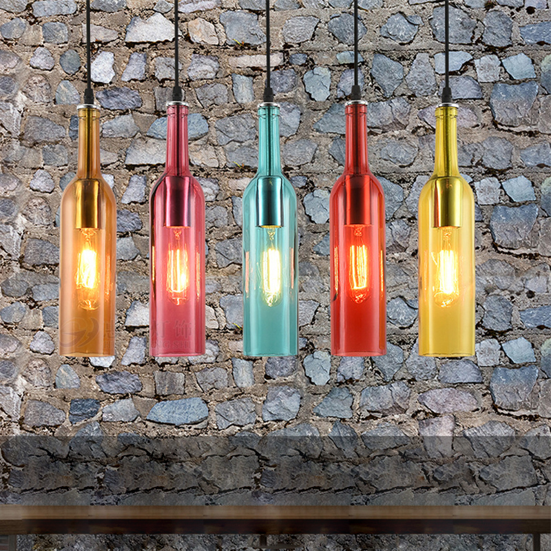 Creative Retro Loft Hanging Bottle Glass Pendant light E27 LED Pendant lights for Kitchen Restaurant Bar Vintage Home DecorCreative Retro Loft Hanging Bottle Glass Pendant light E27 LED Pendant lights for Kitchen Restaurant Bar Vintage Home Decor