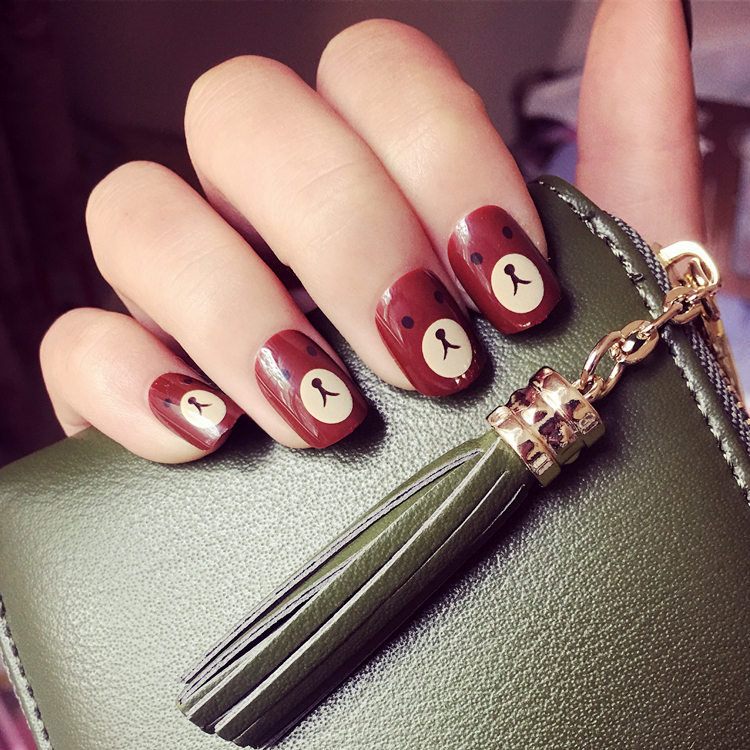 Super Cute Brown Bear Pattern Fake Nails Anese Pure Color Cartoon False 24pcs With Glue Short Size Full Nail Tips Lady In From Beauty