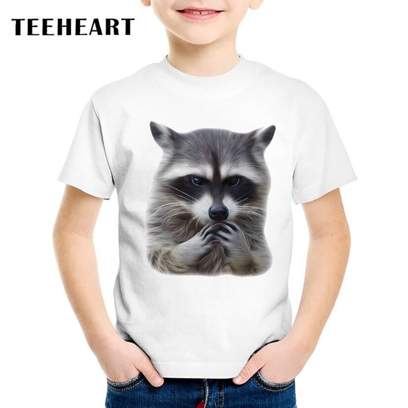 Teeheart Обувь для мальчиков/девочек Модальные футболка Симпатичные Настоящее енота с 18 м-10 т летняя детская повседневная одежда ta296