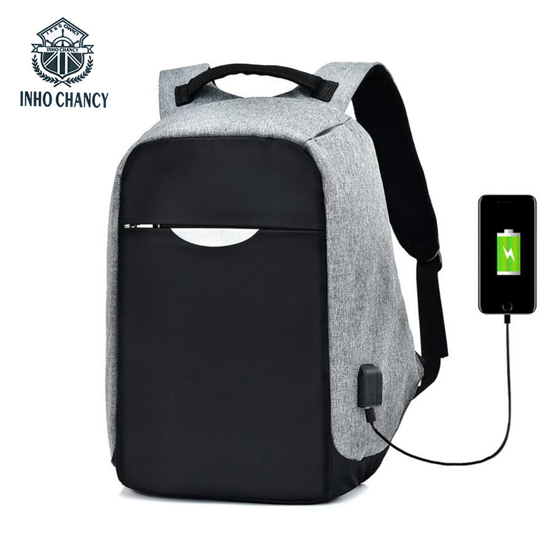 INHO CHANCY Men Guard Against Theft Backpack 15 Inch Laptop Bag External USB Charging Backpack Multi