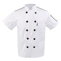 Новая мужская женская летняя куртка шеф-повара, куртка для питания, Униформа-двубортная с воротником-стойкой, стойкая к морщине пищевая