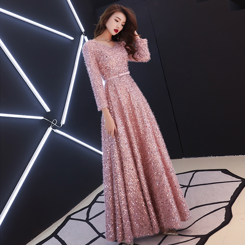 Elegant Pink Feathers Long Evening Dress with Long-sleeve Shiny Sequin Lace Up Floor-Length Formal Gowns Sexy New Party Dresses
