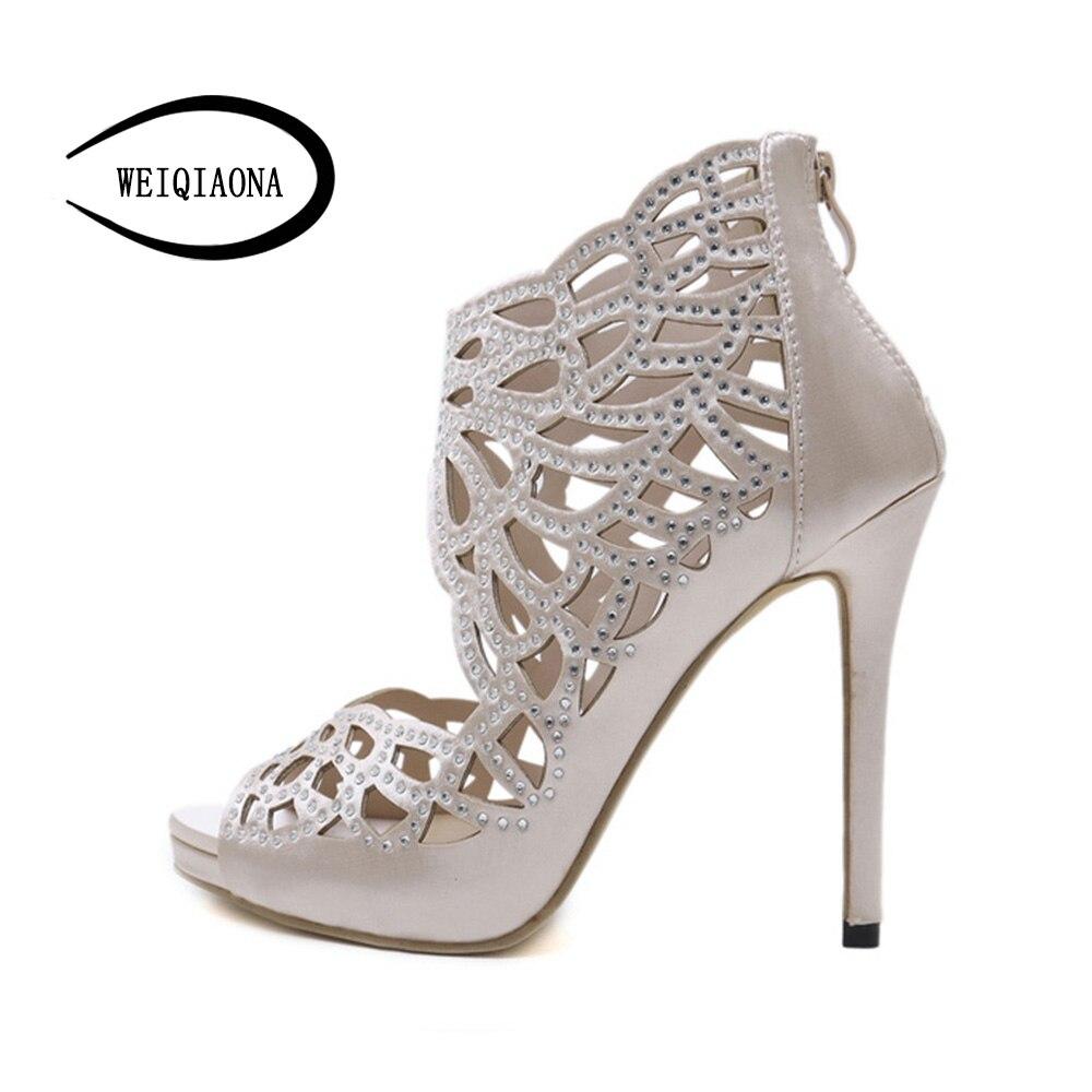 Marque Kaki Weiqiaona Cristal Designer Bottes Sandales 2018 Partie Hauts Talons Sexy Courtes Femmes À Chaussures Zipper Discothèque 1qAar5wxA
