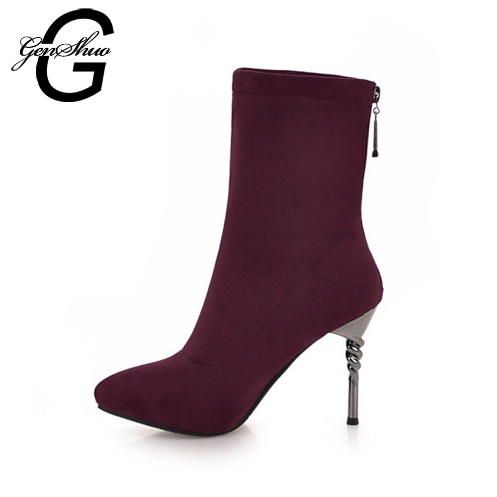 GENSHUO Fashion Flock Winter Boots Women Shoes Mid Calf Boots Sexy Ladies Shoes Zipper Short Plush Stiletto Women Mid Calf Boots