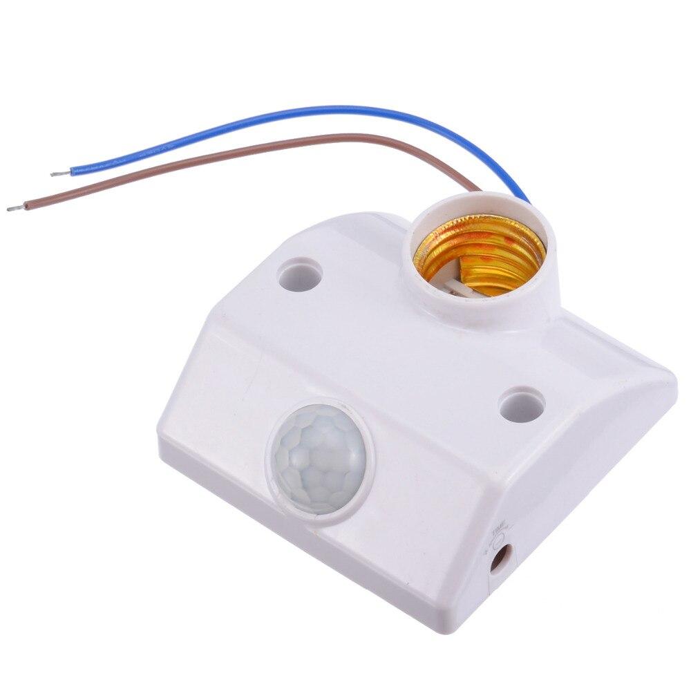 E27 Sensor de movimiento por infrarrojos PIR lámpara de luz LED soporte Base de lámpara LED PIR interruptor de Sensor de movimiento