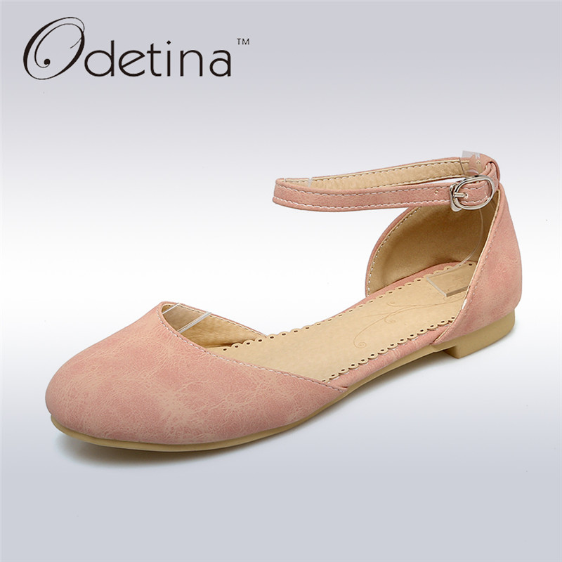 Odetina 2017 New Summer Ankle Strap Ballet Flats Buckle Women Mary Jane Shoes Round Toe Casual Flat Shoes Sweet Big Size 34-43 odetina 2017 new summer women ankle strap ballet flats buckle hollow out flat shoes pointed toe ladies comfortable casual shoes
