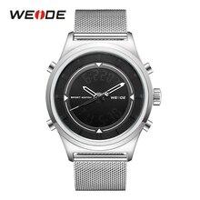 WEID analog digital LED week display chronograph alarm repeater complete calendar back light fashion men's military quartz watch цены