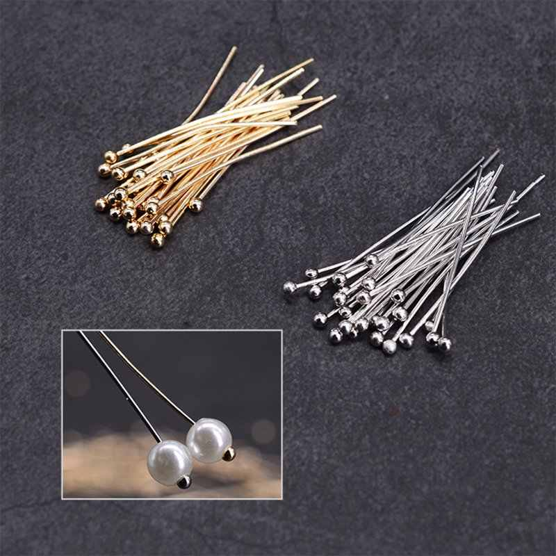 Semitree 100Pcs/Lot Copper Head Pins Beads T-pins for DIY Beads Pearls Jewelry Making Accessories Earring Findings Supplies