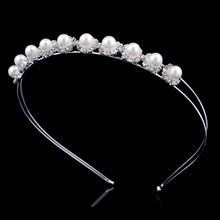 Simple fashion korea pearl bride hoop thick Silver Tiara Comb alloy crown jewelry sold in Europe FG003