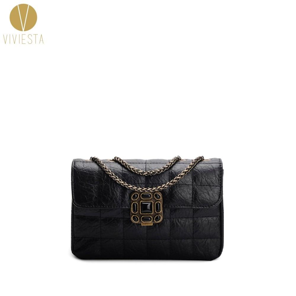 GENUINE LEATHER QUILTED VINTAGE SLING BAG Women's 2018 Lady Elegant Famous Brand Shoulder Crossbody Baguette Chain Bag Handbag
