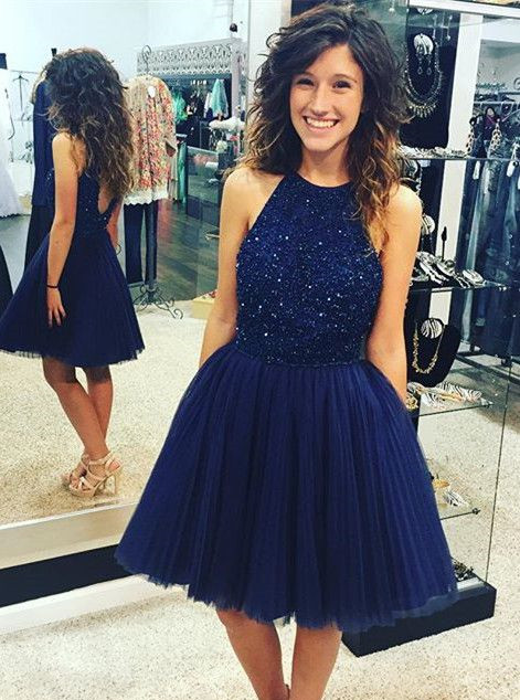 Halter Short   Prom     Dresses   with Pleated Skirt Knee Length Party   Dresses   with Beads