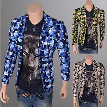 Street performances Camouflage 2016 male men's jacket slim fit blazers man casual masculino blazer men suit short coat xxl