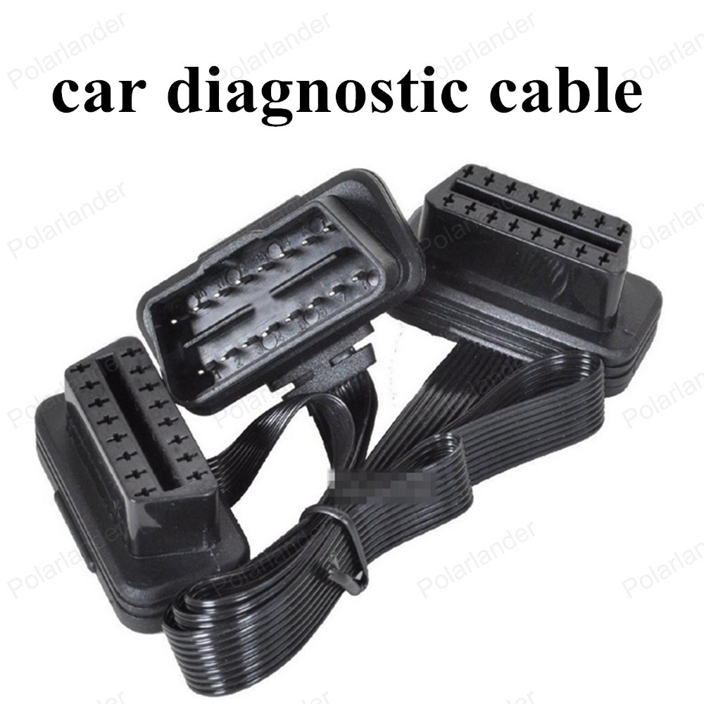 hot sell As Noodle OBD2 Male To Dual Female Y Splitter 16 Pin Elbow Car Scanner Cable 30cm