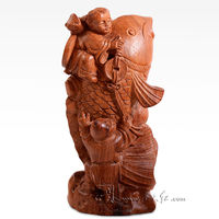 Red Sandalwood Carving Art Crafts Rosewood Hotel Office Lobby Decoration Home Living Room Desk Decor Solid Wood Statue Sculpture