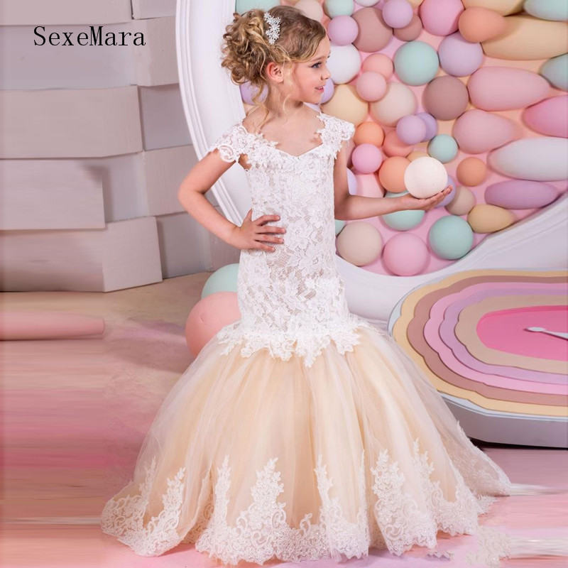 Mermaid Lace Flower Girl Dresses for Wedding 2018 Real Picture Kids Evening Dress Holy Communion Dresses For Girls Pageant Gowns white ivory flower girl dresses for wedding lace communion dresses for girls 1 year old pageant dresses kids evening gowns