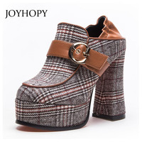 2018 Autumn Lattices Cotton Fabric Thick Heel Platform Pumps Women Winter Hoof Heel High Heels Woman Buckle Casual Shoes WP1124