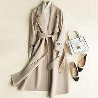 Шерстяное пальто женские; из 100% й шерсти Классическая Дизайн одноцветное Drop плечевой ремень 4 цвета качество тонкий пальто Англия Стиль 2018 Н