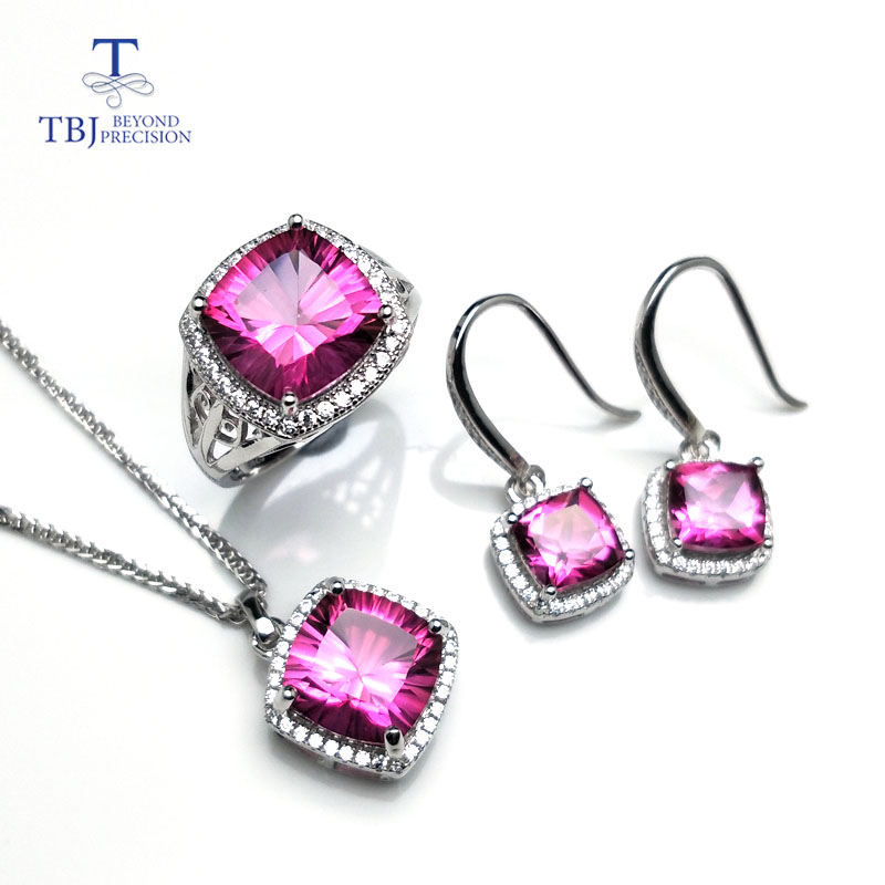 TBJ,Romantic natural pink topaz gemstone jewelry set in 925 sterling silver best ring pe ...