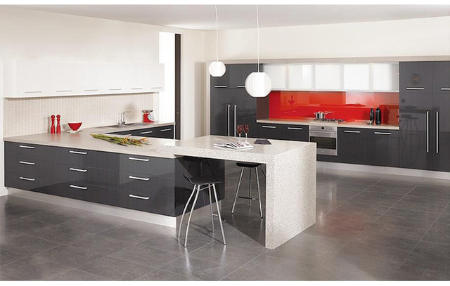 2016 new high gloss kitchen doors elegant gray - High Gloss Kitchen Cabinets