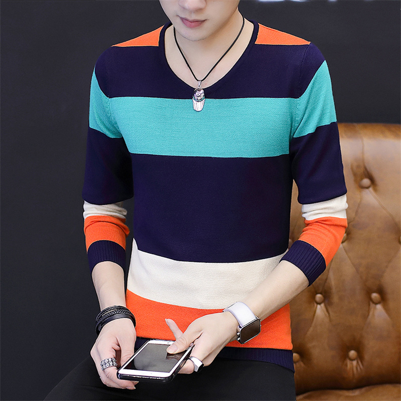 2019 Autumn Winter Men Sweaters O Neck Long Sleeve Striped blusa de frio masculino Slim sueter masculino