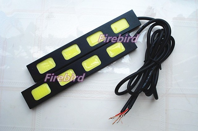 8W power 4COB*2 led DRL waterproof daytime running lights, cold white color fog lamps, black aluminum driving lights