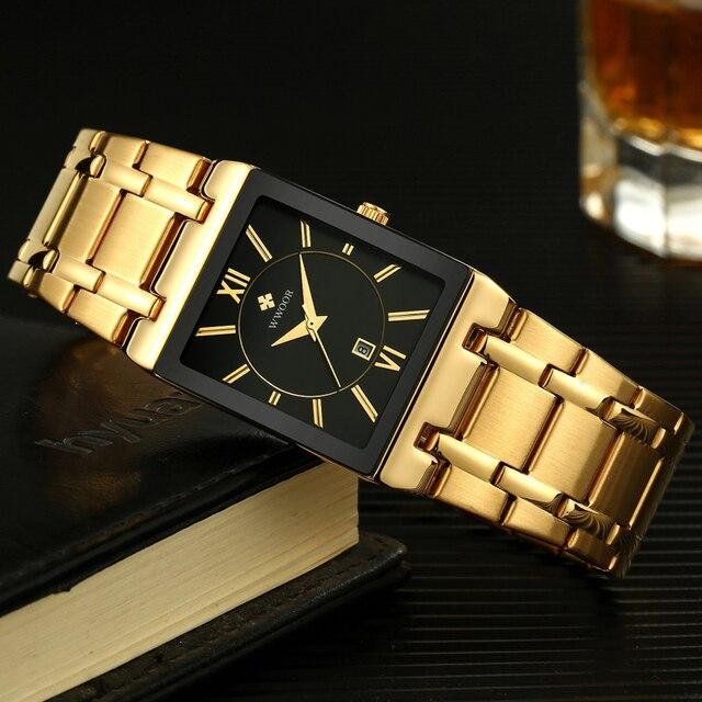 Gold Black Square Quart Waterproof Wristwatch 4