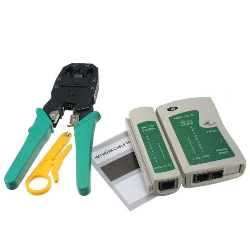 4-en-1 Portable LAN Network Tool Kit Câble Utp Testeur ET Pince à sertir pince à Sertir Décapant de Fil De Bougie Têtes RJ45 RJ11 RJ12 CAT5 CAT5e