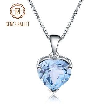 GEMS BALLET collar con colgante de gemas de corazón de plata de ley 925 para mujer, 4,4 CT, Topacio azul cielo Natural, joyería fina