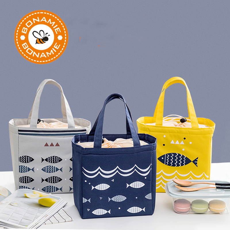 BONAMIE Drawstring Thermal Lunch Bag Fashion Portable Insulated Cooler Bag For Men Women High Quality  Waterproof Picnic Bag