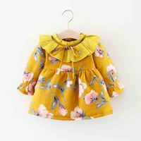 Bibicola 2018 winter new baby girl warm dress newborn fashion flower print princess dress toddler plus velvet christmas dress