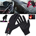 Men Women Winter Black Leather Gloves Touch Screen Waterproof Windproof Thermal Warm Gloves Outdoor Sports Brace Supports Gift