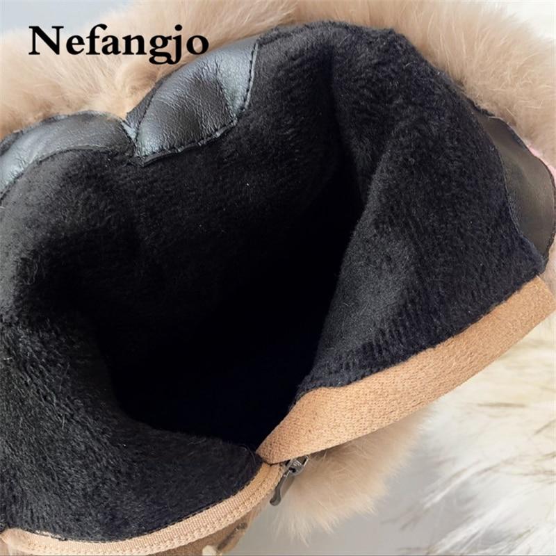 Neige Haute En Hauts Beige Cuir Talons Femmes Chaud Plate 2018new Bottes forme Peluche D'hiver Suédé Mode Chaussures Nefangjo noir De aI1qOx